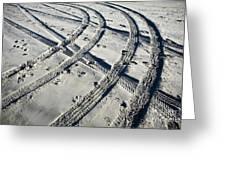 Tire Tracks And Footprints, Long Beach Peninsula, Washington Greeting Card by Paul Edmondson