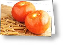 Tomatoes And Pasta Greeting Card by Blink Images