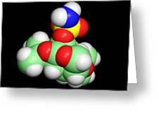 Topiramate Molecule, Anti-epilepsy Drug Greeting Card by Dr Tim Evans
