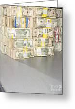 Us Bills In Bundles Greeting Card by Adam Crowley