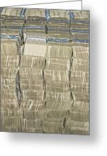 Us Cash Bundles Greeting Card by Adam Crowley