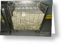 Us Dollar Bills In A Bank Cart Greeting Card by Adam Crowley