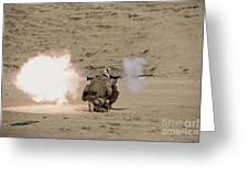 U.s. Marine Fires A Rpg-7 Grenade Greeting Card by Terry Moore