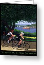 Vancouver Bike Ride Poster Greeting Card by Neil Woodward