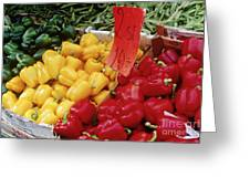 Vegetables At Market Stand Greeting Card by Jeremy Woodhouse