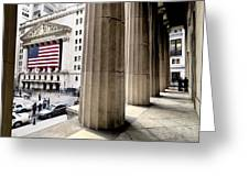Wall Street And The New York Stock Greeting Card by Justin Guariglia