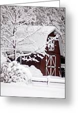 Winter Barn Greeting Card by Cheryl Cencich