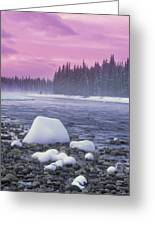 Winter Sunset On Bow River, Banff Greeting Card by Darwin Wiggett