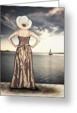 Woman At The Lake Greeting Card by Joana Kruse