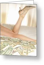 Woman Lying On Bed With Us Dollars Greeting Card by Sami Sarkis