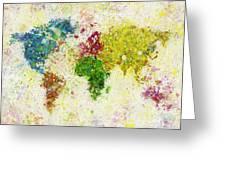 World Map Painting Greeting Card by Setsiri Silapasuwanchai