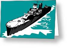 World War Two Battleship Warship Cruiser Retro Greeting Card by Aloysius Patrimonio