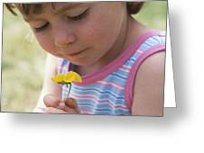 Young Girl With A Flower Greeting Card by Ian Boddy