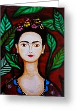 Frida Kahlo Greeting Card by Pristine Cartera Turkus