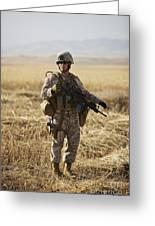 U.s. Marine Patrols A Wadi Near Kunduz Greeting Card by Terry Moore