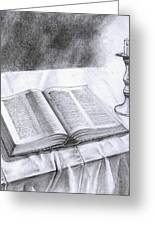 174 Bible And Candlestick Featured Greeting Card by James Robinson