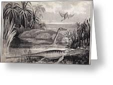 1837 Extinct Prehistoric Animals Dorset Greeting Card by Paul D Stewart