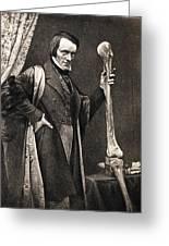 1846 Richard Owen And Moa Leg Fossil Greeting Card by Paul D Stewart