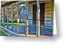 1860 Log Cabin Porch Greeting Card by Linda Phelps