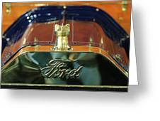 1911 Ford Model T Runabout Hood Ornament Greeting Card by Jill Reger