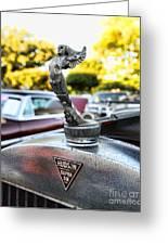 1928 Hudson Super Six Roadster Hood Ornament Greeting Card by Paul Ward