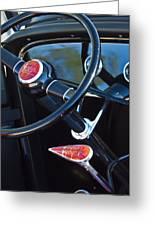 1932 Hot Rod Lincoln V12 Steering Wheel Emblem Greeting Card by Jill Reger