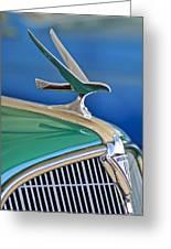 1935 Hudson Touring Sedan Hood Ornament Greeting Card by Jill Reger