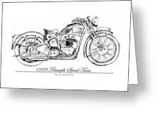 1939 Triumph Speed Twin Greeting Card by Terence John Cleary