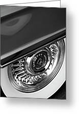 1956 Cadillac Eldorado Wheel Black And White Greeting Card by Jill Reger
