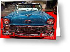 1956 Chevrolet Bel-air Convertible . Blue . 7d9246 Greeting Card by Wingsdomain Art and Photography