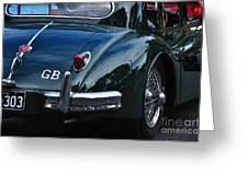 1956 Jaguar Xk 140 - Rear And Emblem Greeting Card by Kaye Menner