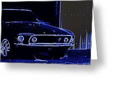 1969 Mustang In Neon Greeting Card by Susan Bordelon