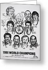 1981 Boston Celtics Championship Newspaper Poster Greeting Card by Dave Olsen