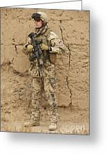 A German Army Soldier Armed With A M4 Greeting Card by Terry Moore