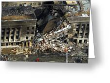 Aerial View Of The Terrorist Attack Greeting Card by Stocktrek Images