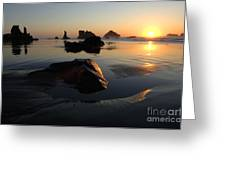 Bandon Beach Sunset Greeting Card by Bob Christopher