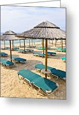 Beach Umbrellas On Sandy Seashore Greeting Card by Elena Elisseeva