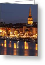 Boats Moored On River Suir At City Greeting Card by Trish Punch