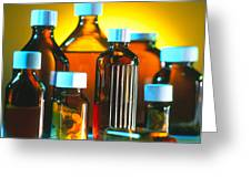 Collection Of Medicine Bottles With Safety Caps Greeting Card by Tek Image