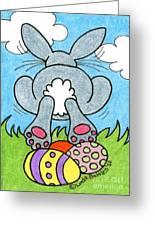 Easter Bunny Retreat Greeting Card by Linda Battles