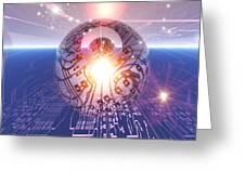 Electronic World, Artwork Greeting Card by Mehau Kulyk