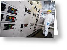 Engineer Servicing Air Conditioning Greeting Card by Tek Image