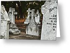 Gravestones In Graveyard Greeting Card by Dave & Les Jacobs
