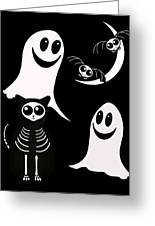Halloween Bats Ghosts And Cat Greeting Card by Gravityx Designs