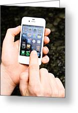 Hands Holding An Iphone Greeting Card by Photo Researchers, Inc.