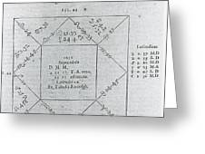 Horoscope Chart For Louis Xiv, 1661 Greeting Card by Science Source
