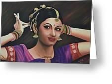 Indian Dancer Greeting Card by Usha Rai