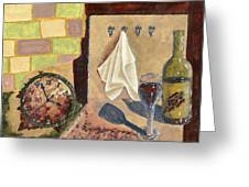 Kitchen Collage Greeting Card by Susan Schmitz