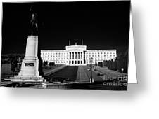Lord Carson Statue At The Northern Ireland Parliament Buildings Stormont Belfast Northern Ireland Uk Greeting Card by Joe Fox