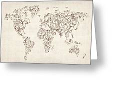 Map of the World Map Floral Swirls Greeting Card by Michael Tompsett